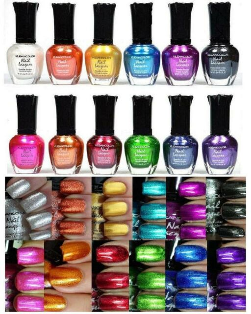 12 PCS New Kleancolor FULL SIZE METALLIC LOT Nail Polish Colors