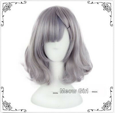 Hot Harajuku Smoke Grey Full Long Cruly Hair Short Cosplay Gradient Lolita Wig