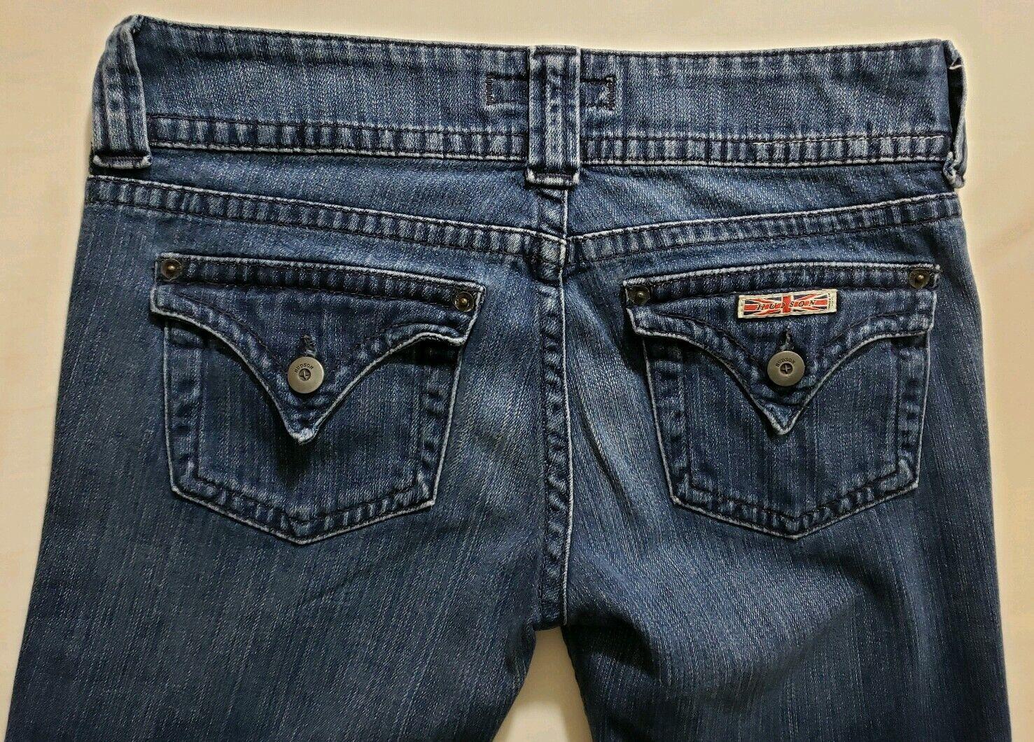 Hudson Womens Denim bluee Jeans Size 28 x 32 Boot Cut Dark Wash Low Rise Flap Poc