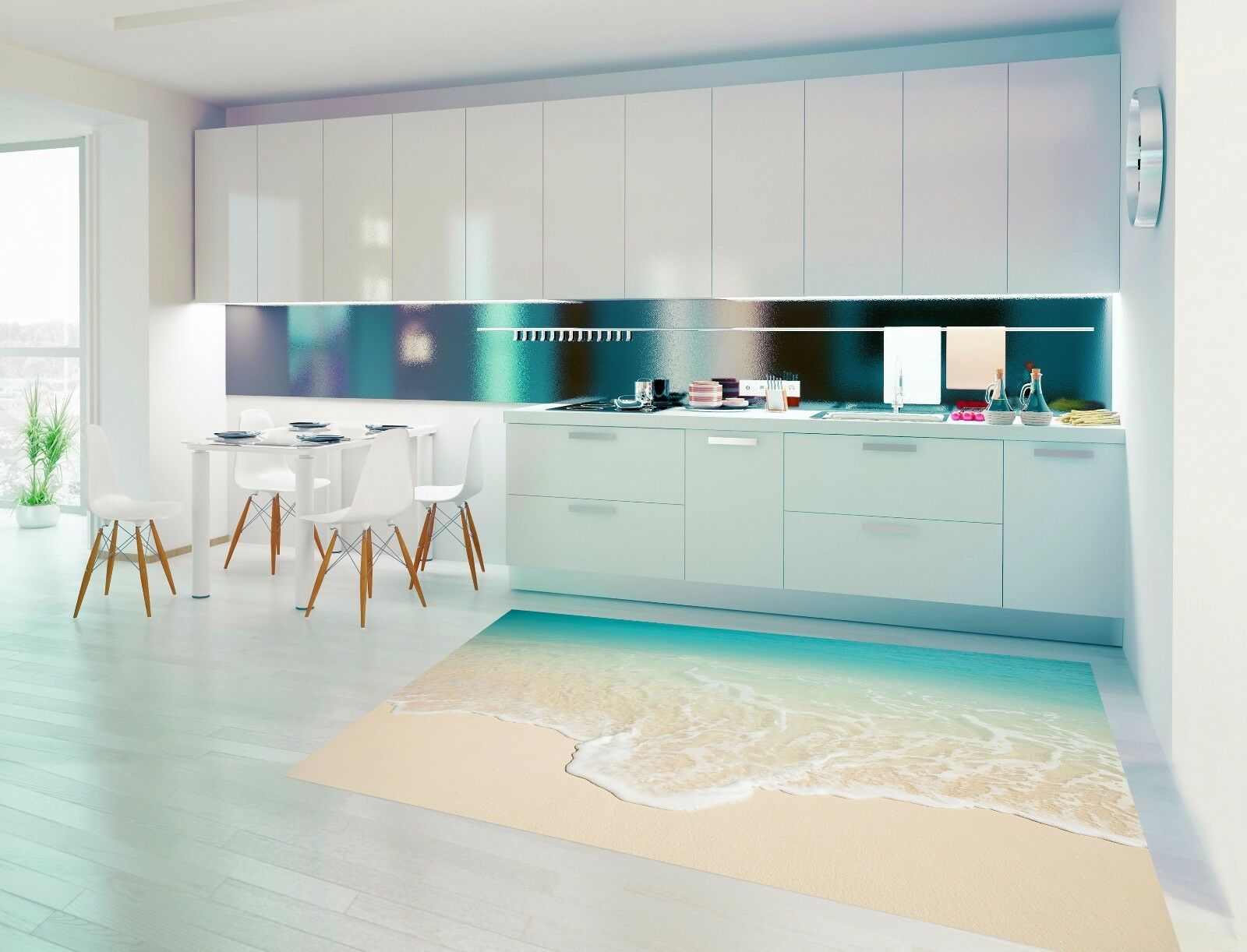 3D Ocean Beach 838 Kitchen Mat Floor Murals Wall Print Wall AJ WALLPAPER UK Kyra