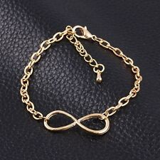 Gold Metal Cross Infinite Bracelet Bangle Charm Chain Women Infinity Gold