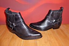 *2* VINTAGE  BLACK LEATHER CHELSEA  HARNESS ANKLE COWBOY BIKER BOOTS  UK 9.5