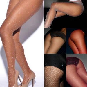 Damen-Netzstrumpfhosen-Pantyhose-Strumpfhose-mit-Strass-Feinstrumpfhose-Struempfe