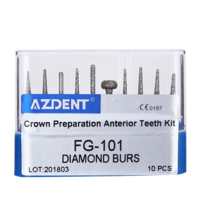 10pcs/Kit Dental Diamond Burs Diamantbohrer FG-101 For Handpiece AZDENT