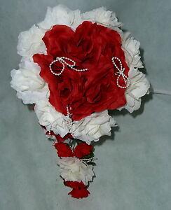 Brautstrauss Hochzeitsstrauss Rot Weiss Blumenstrauss Hochzeit Ebay