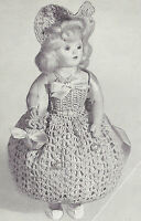 Vintage Crochet Pattern To Make 8 Inch Doll Pin Cushion Dress Hat Bag