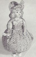 Vintage Crochet Pattern To Make 8 Inch Doll Pin Cushion Dress Hat Bag