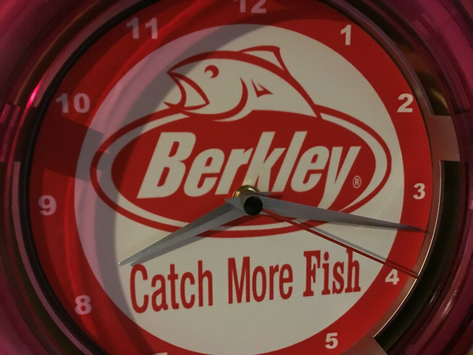 Berkley Fishing Line Tackle Lures Bait Shop Store Man Cave Neon Wall Clock Sign