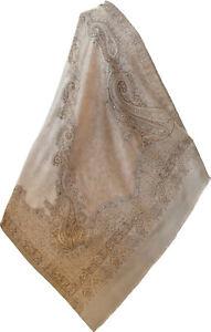 Beige /& Tan Golden Subtle Paisley Design Silk /& Wool Jamavar Pashmina Shawl