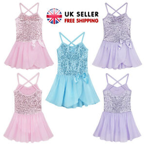 UK-Girls-Sequins-Dance-Dress-Spaghetti-Straps-Leotard-Gymnastics-Tutu-Dancewear