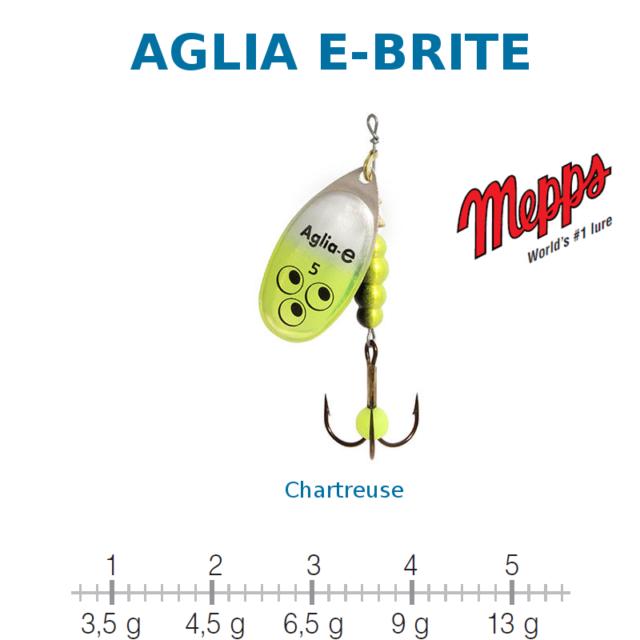 AGLIA E-BRITE MEPPS Argent / Chartreuse Taille 3 Poids 6,5 g UV Sensitive