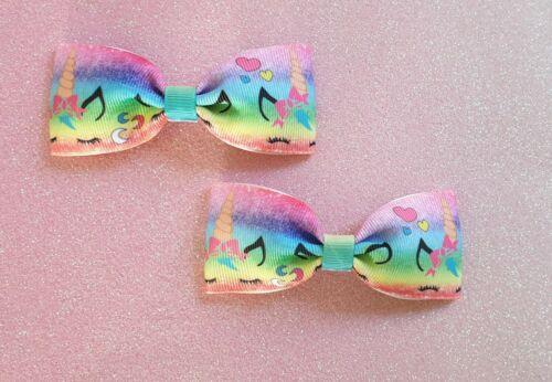 Handmade Pair of Sleeping Unicorn Character Ribbon Hair  Bow Clips