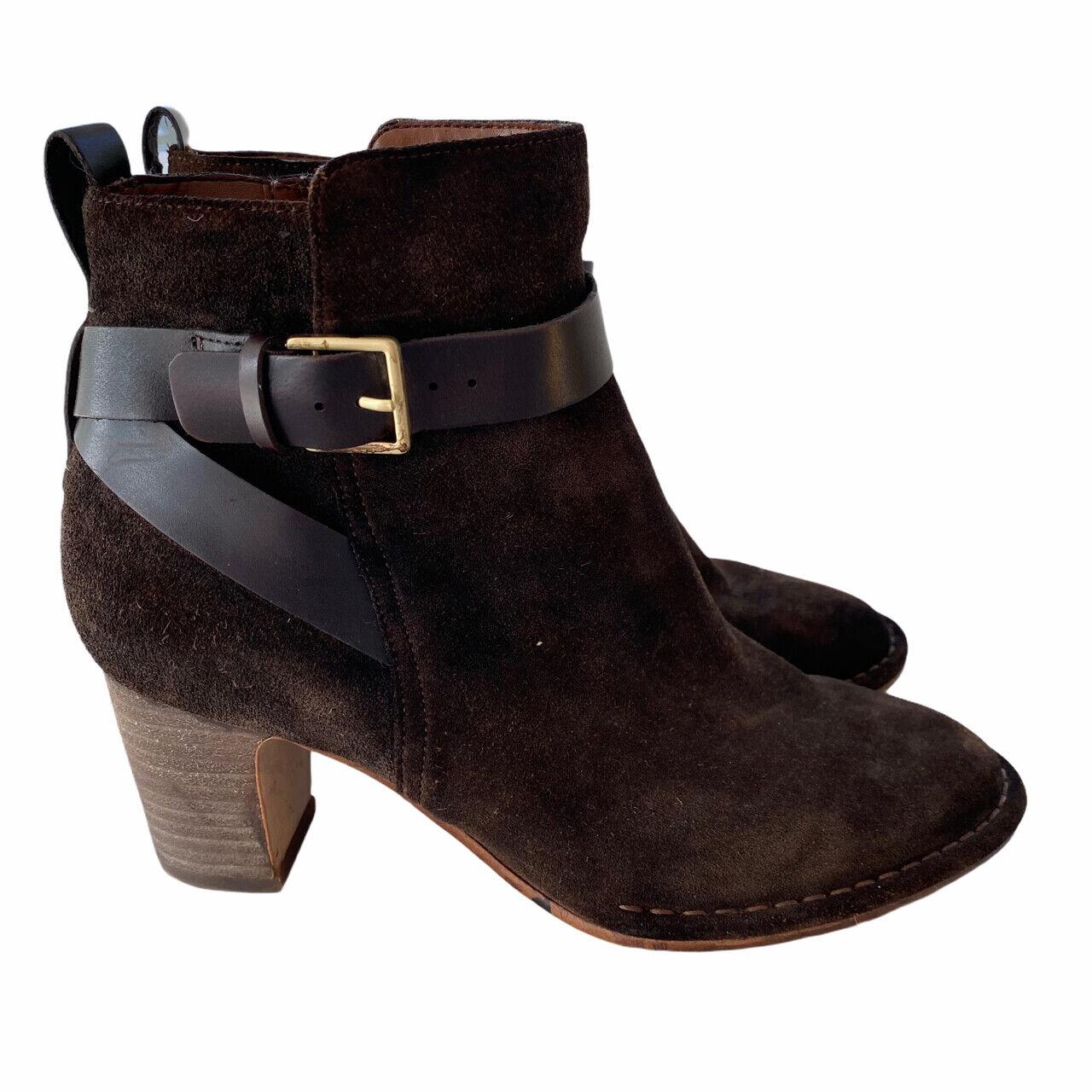 CLARKS Cushionsoft Dark Brown Suede Mid Heel Ankle Boots 5 UK / 38 EU / b4