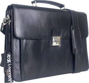 c7234ac8229e Details about UNICORN Real Leather Business Executive Briefcase Messenger  Bag - Black #6N