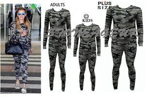 Nouveau Femme Women/'s Armée Camouflage 2 pièces Survêtement Jogging Lounge Costume