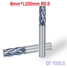 1x 4Flute Diam8.0mm*R0.5*8mmSHK Carbide Corner Radius End Mills Cutter Cutting