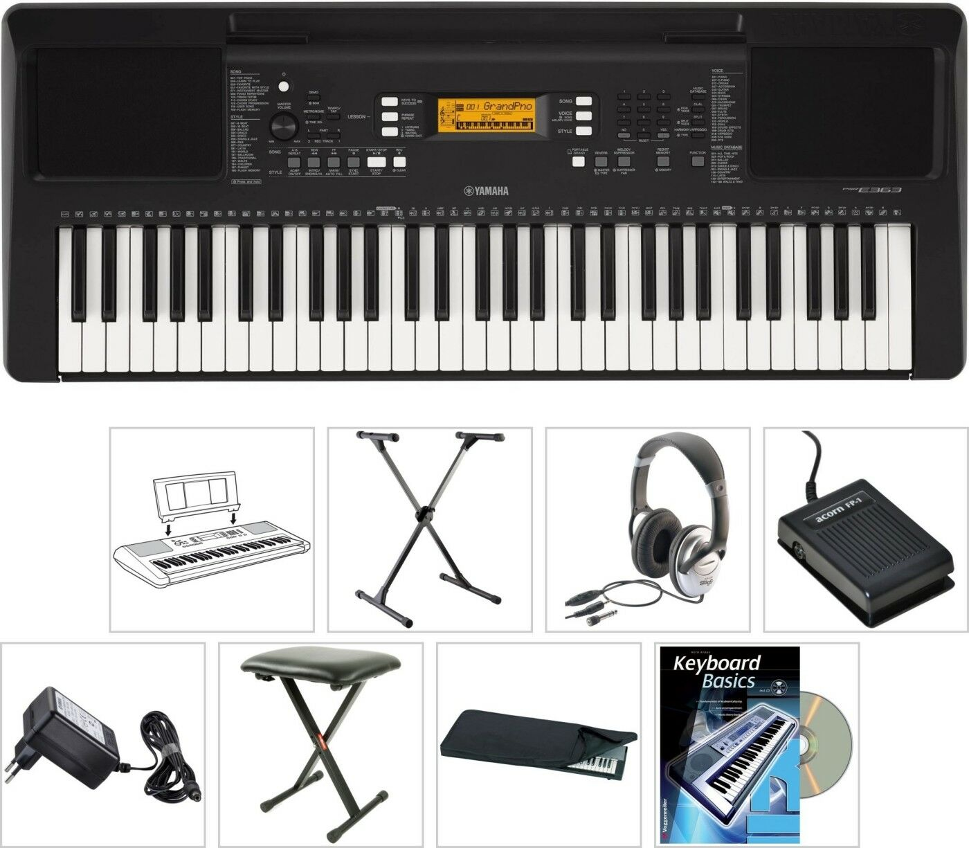 Yamaha PSR E363 Keyboard mit Bank Stativ Kopfhörer Buch CD Hülle Sustain Pedal