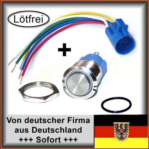 Klingeltaster 18mm Edelstahl wasserdicht Klingel LED weiß hoher Kopf 4 Stk