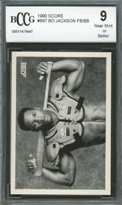 1990-Score-697-Bo-Jackson-football-baseball-Card-BGS-BCCG-9-Near-Mint
