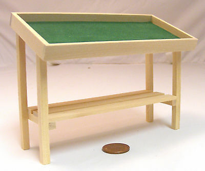 1:12 Scale Natural Finish Display Counter Table Tumdee Dolls House Shop Baize 35