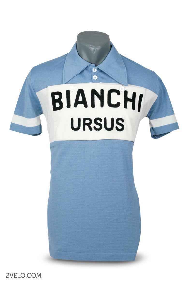 Bianchi Ursus vintage style wool jersey, chainstitch, maglia, Größe maillot L Größe maglia, 24c4c5