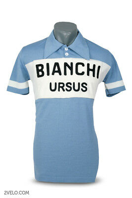 chainstitch maglia Bianchi Ursus vintage style wool jersey maillot M size