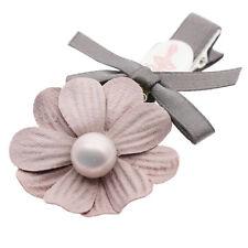 Dancing Girl Pink Pearl Flower Baby Girl Grey Slide Hair Clip Accessories HA293
