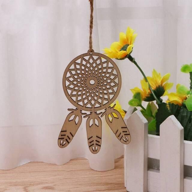 10Pcs Fashion Wood Laser Cut Dream Catcher Feather Shape Ornament Hanging Decor