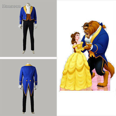 Beauty and the Beast Adam Cosplay Beast Costumes Blue Suit Cartoon Clothing Men
