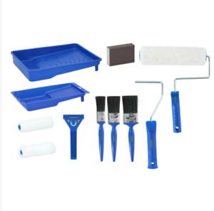 Paint Brush Roller Tray Set 12 Pcs Decorating Painting DIY Renovation Home Kit