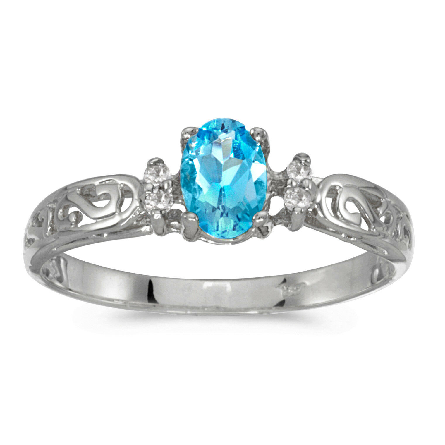 14k White gold Oval blueee Topaz And Diamond Filigree Ring