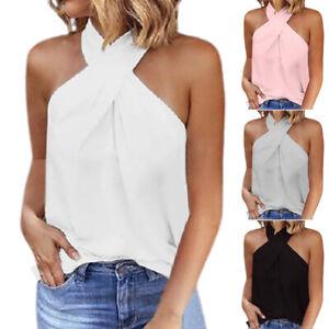 UK Womens Plain T Shirt Vest Tee Blouse Ladies Cami Cold Shoulder Chiffon Tops