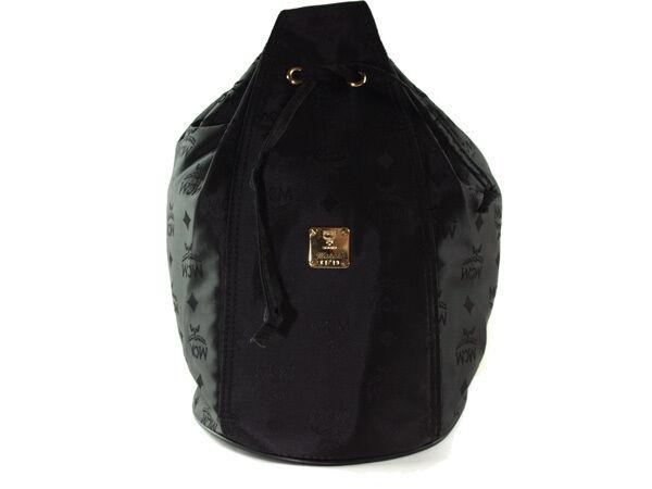 MCM Logo Pattern Nylon Canvas Black Drawstring Shoulder bag MS1891L