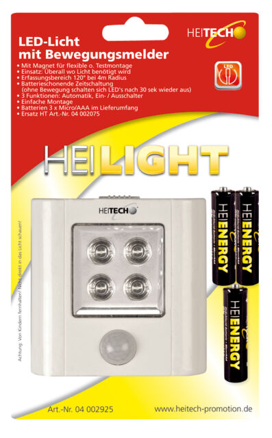 Heitech 4x LED-Licht mit Bewegungsmelder inkl Batterien Nachtlicht PIR-Sensor