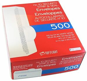 Top No 10 Security Strip And Seal Business Envelopes 4.1x9.5 - 500 Count Tinted
