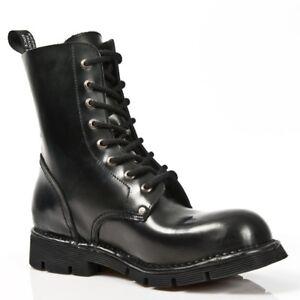 NEWROCK New Rock Newmili084-C9 Black Military Biker Unisex 8 Hole Gothic Boots