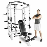 Marcy Pro Deluxe Folding Total Body Home Gym Cage Power Rack System With Bench on sale