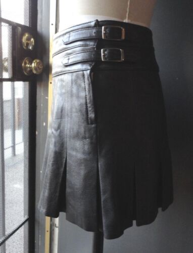 *JOIE* Black Pleated Genuine Leather Skirt Size 6