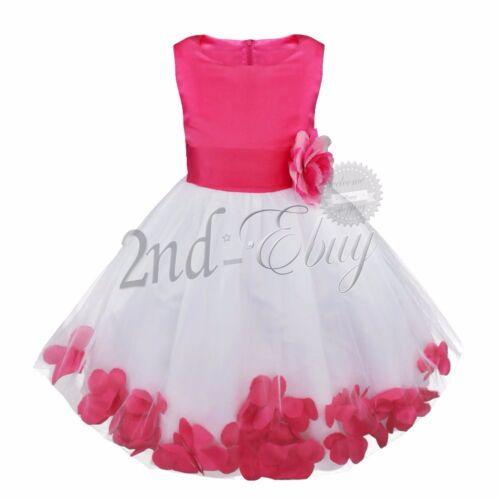 Petals Flower Girl Dress Bridesmaid Wedding Formal Party Princess Tutu Dress