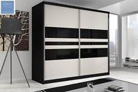 Brand Modern Sliding Door Wardrobe 7ft8 (233cm) - F01 + Black Sides