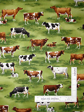 Farm Cow Calf Animal Green Cotton Fabric Robert Kaufman Down On The Farm - Yard