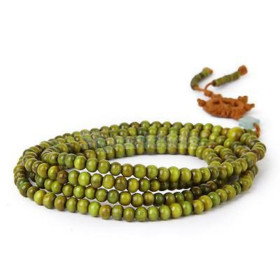 Buddhist Sandalwood 216pcs Beads Mala MEDITATION PRAYER Bracelet Necklace Green