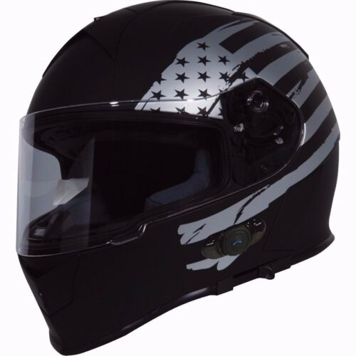 2019 Torc T14 BLUETOOTH Full Face Dual Visor Motorcycle Helmet Black Flag