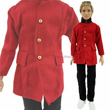 Prince Tuxedo Men Outfit Red Coat + Trousers Suit  Clothes For Ken 1/6 Doll Gift
