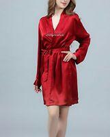 Free Ship Womens Satin Silk Pajama Set Kimono Robe Multi-color Silkpeace Pants