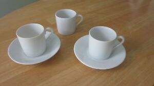 Espresso-Cup-amp-Saucer-Set-Lot-of-2-Sets-Porcelain-China-White-2-Saucers-3-Cups