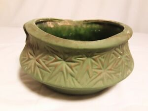Vtg McCoy starburst midcentury pottery 1968 planter bowl MCP matte green