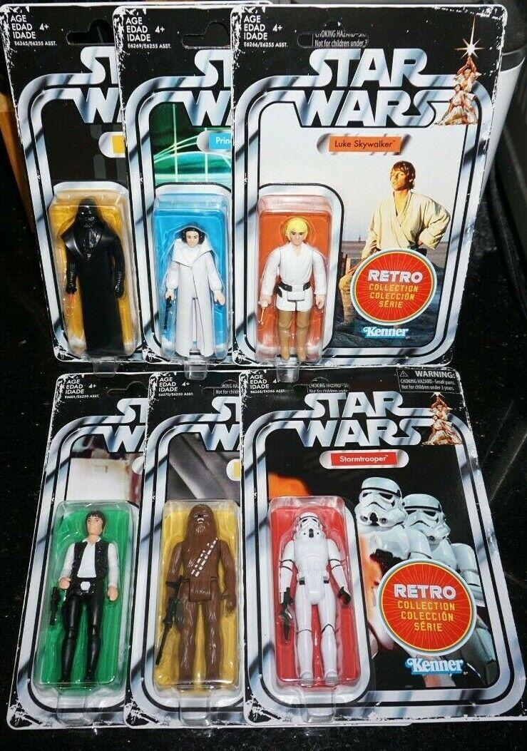 Estrella Wars 3.75  Retro De colección 2019 Darth Vader Luke Leia Han Chewbacca NUEVO