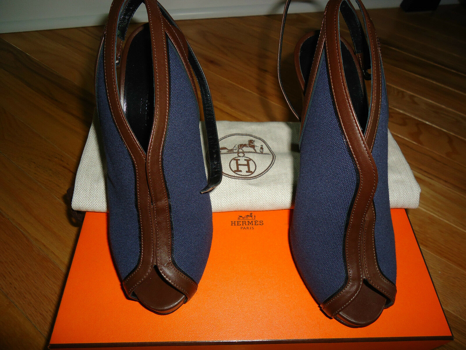 NIB HERMES CALFSKIN  FABRIC SHOES SZ 37.5