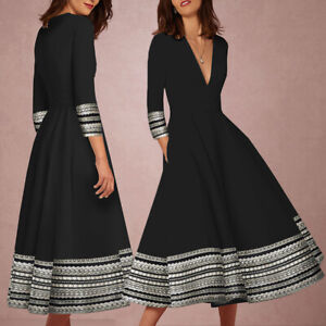Women-039-s-Deep-V-Neck-Long-Sleeve-Printed-A-Line-Midi-Dress-Evening-Cocktail-Party